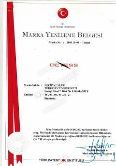 Detess Marka Tescil Belgesi